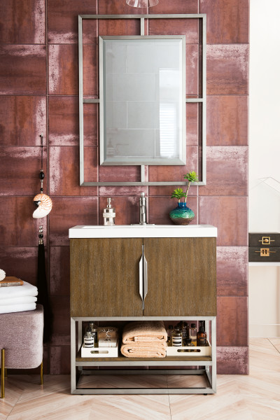 "James Martin Columbia 31.5"" Single Vanity Cabinet, Latte Oak with Hardware and Countertop Options"