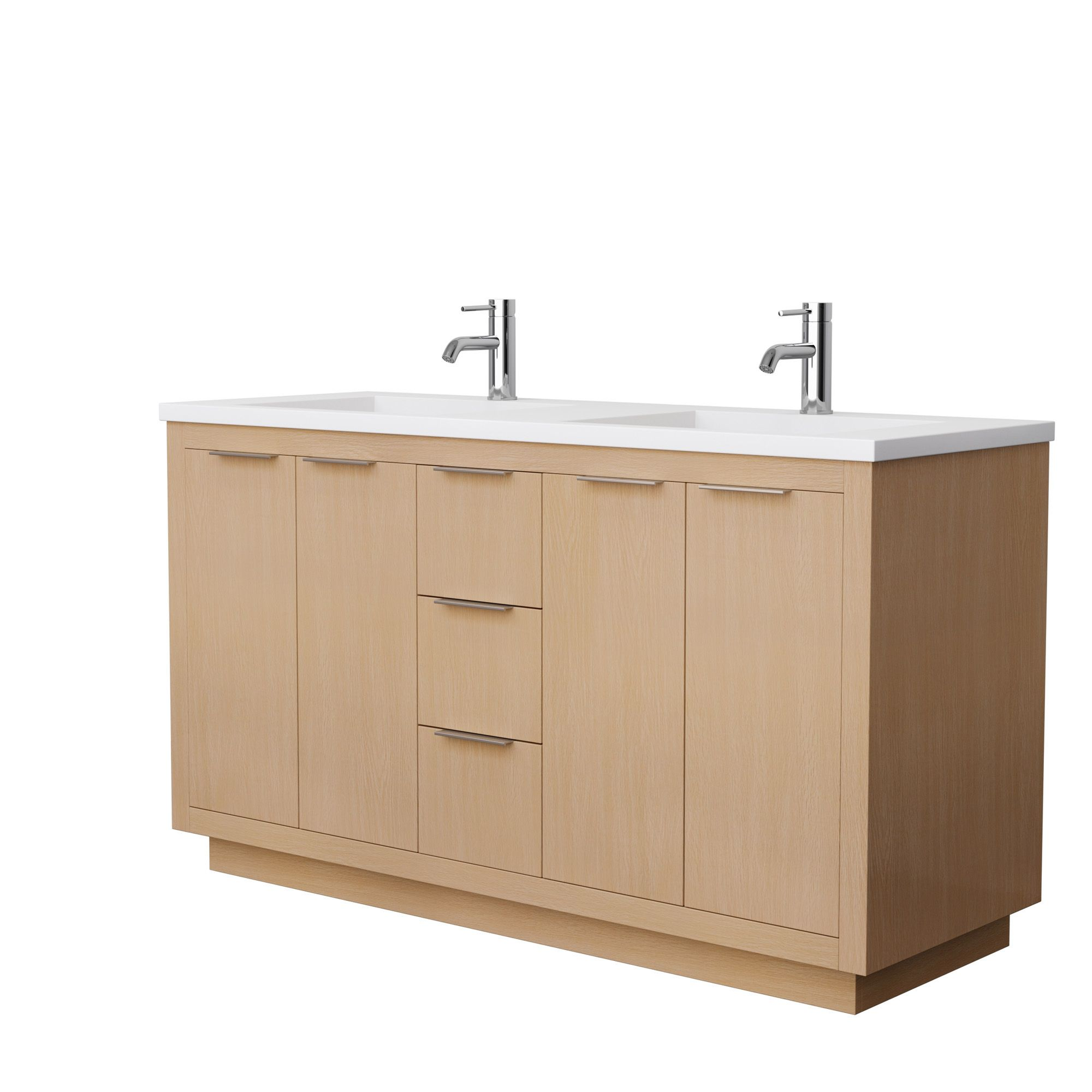 """60"""" Double Bathroom Vanity in Light Straw with Countertop and Hardware Options"""