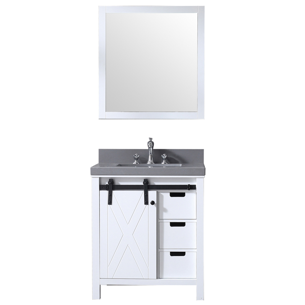 """30"""" White Vanity Cabinet Only with Mirror and Countertop Option"""