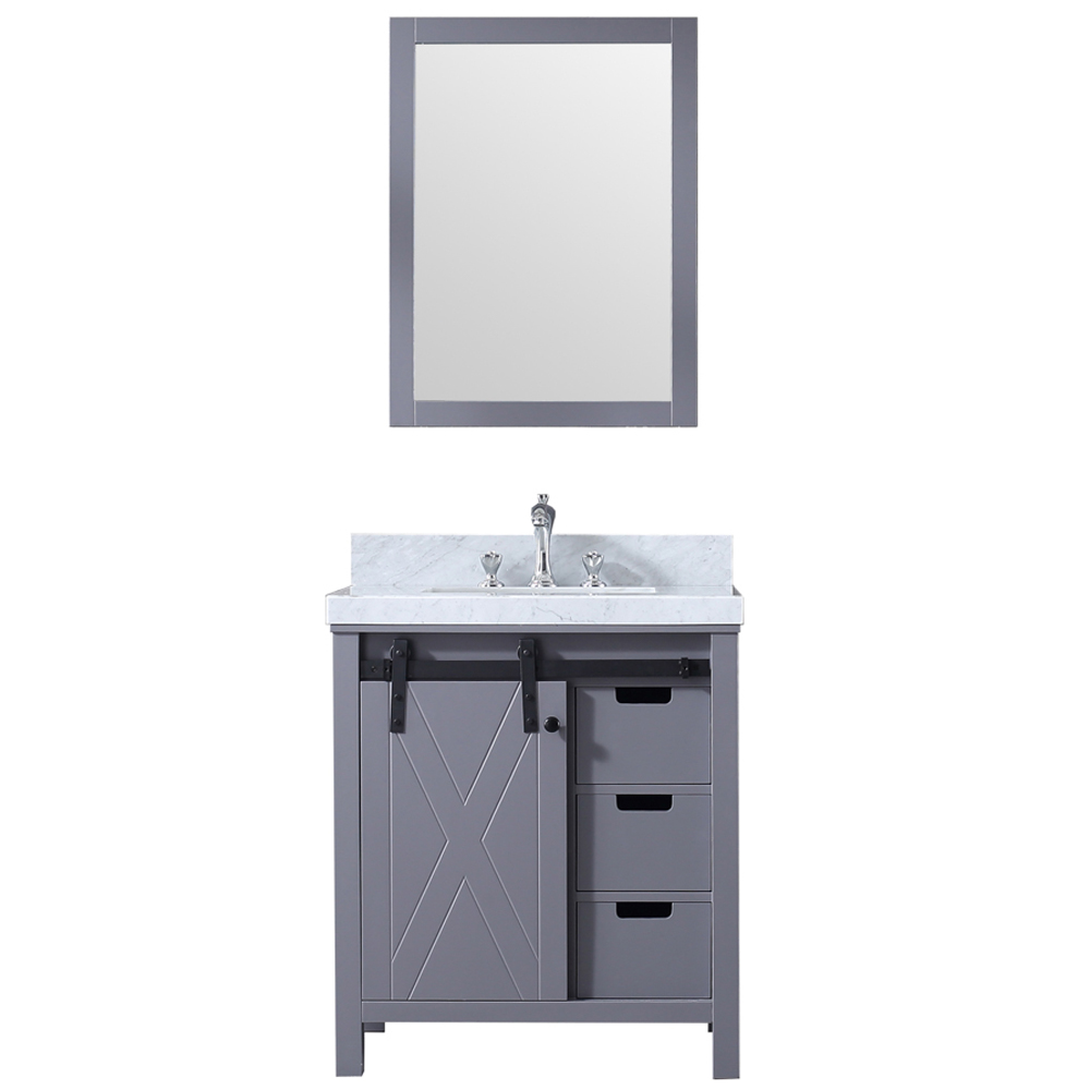 """30"""" Dark Grey Vanity Cabinet Only with Mirror and Countertop Option"""