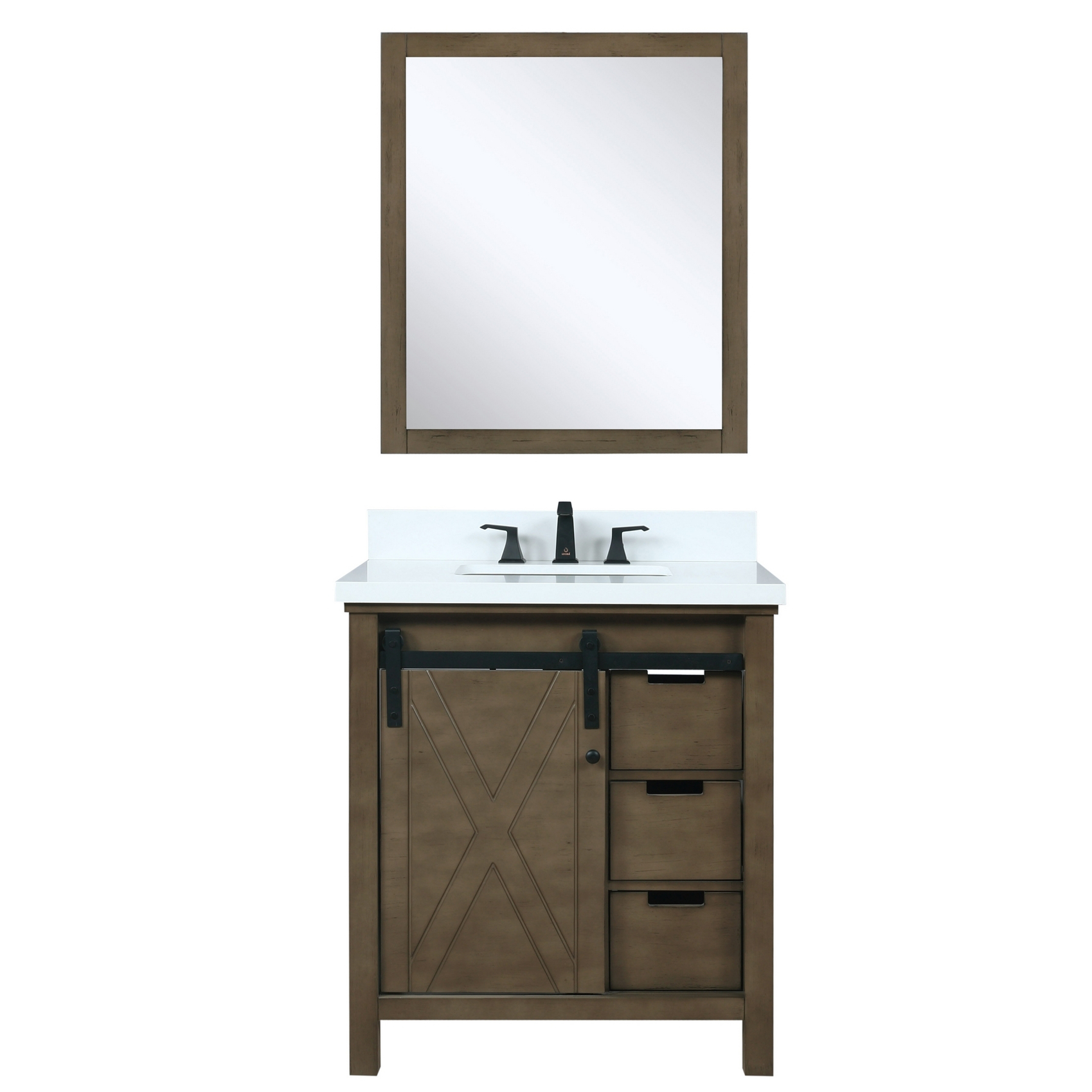 """30"""" Rustic Brown Vanity Cabinet Only with Countertop and Mirror Option"""