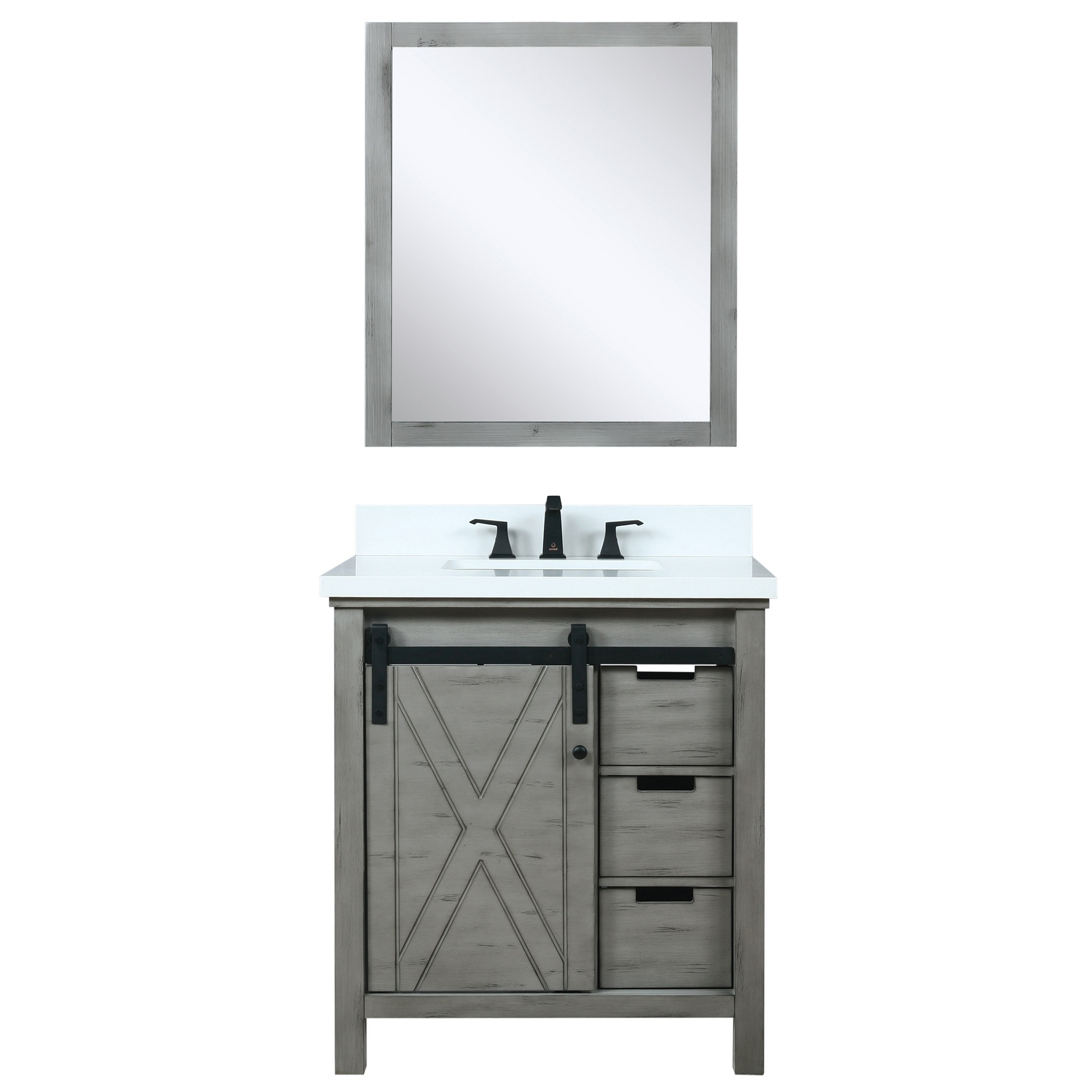 """30"""" Ash Grey Vanity Cabinet Only with Countertop and Mirror Option"""