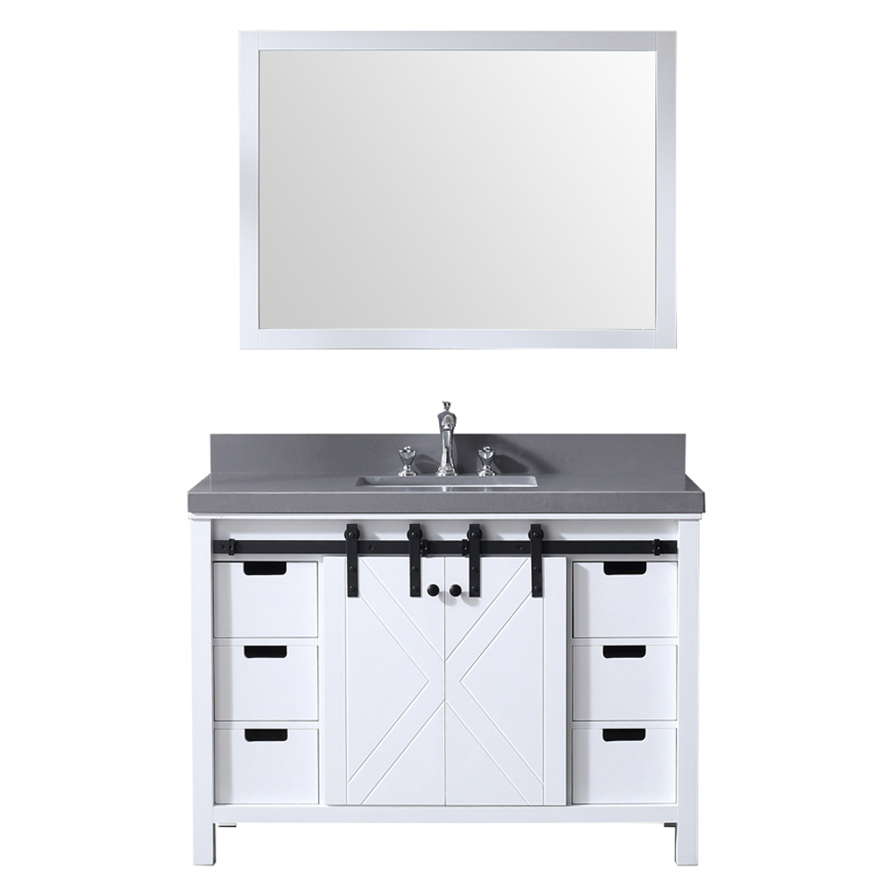"""48"""" White Vanity Cabinet Only with Mirror and Countertop Option"""