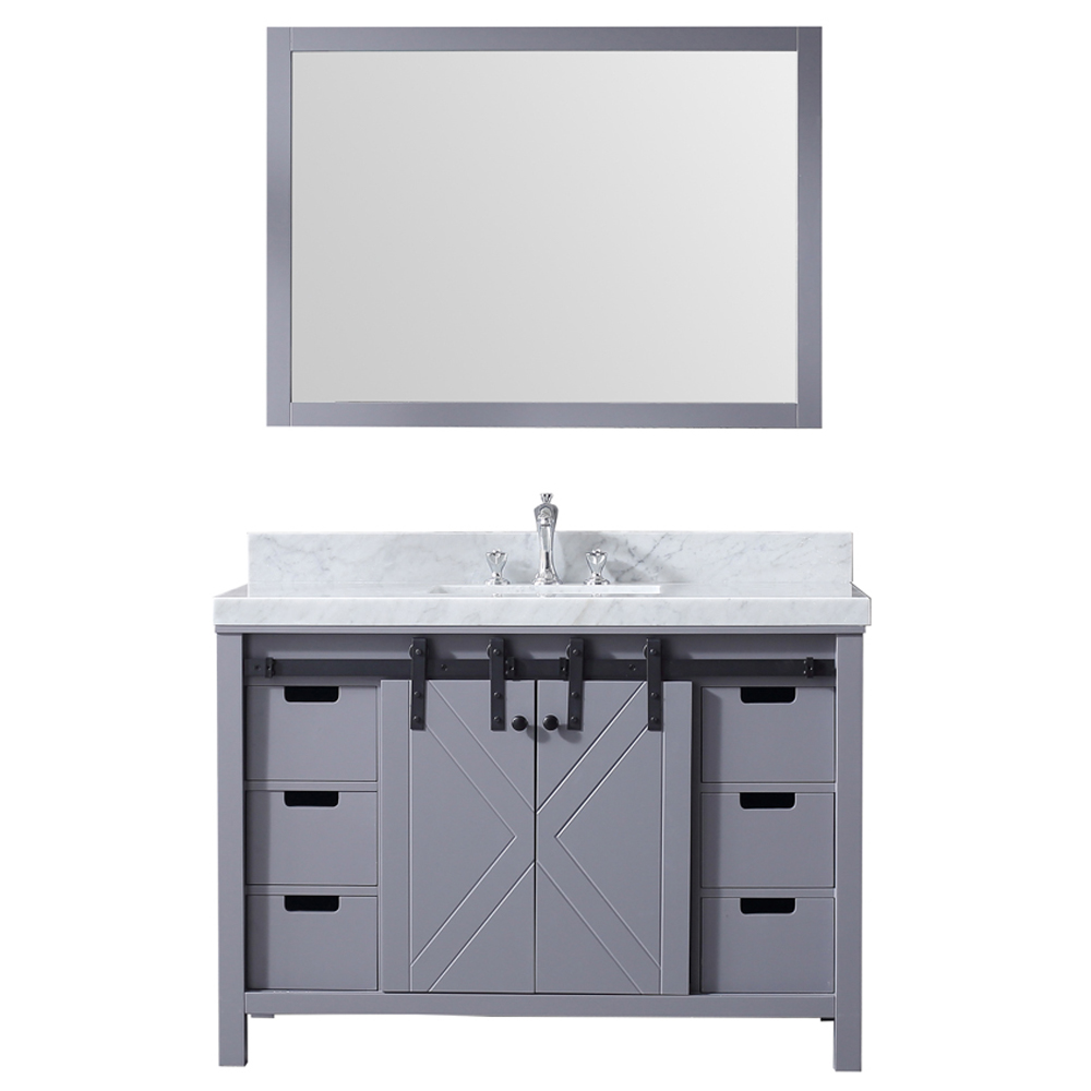 """48"""" Dark Grey Vanity Cabinet Only with Mirror and Countertop Option"""