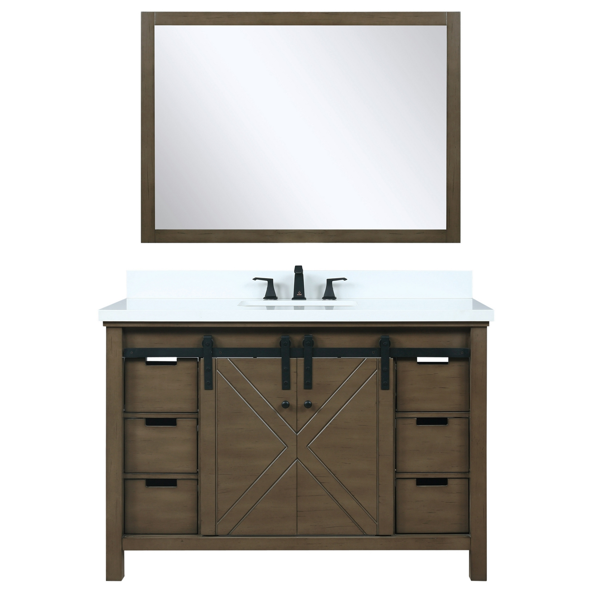 """48"""" Rustic Brown Vanity Cabinet Only with Countertop and Mirror Options"""