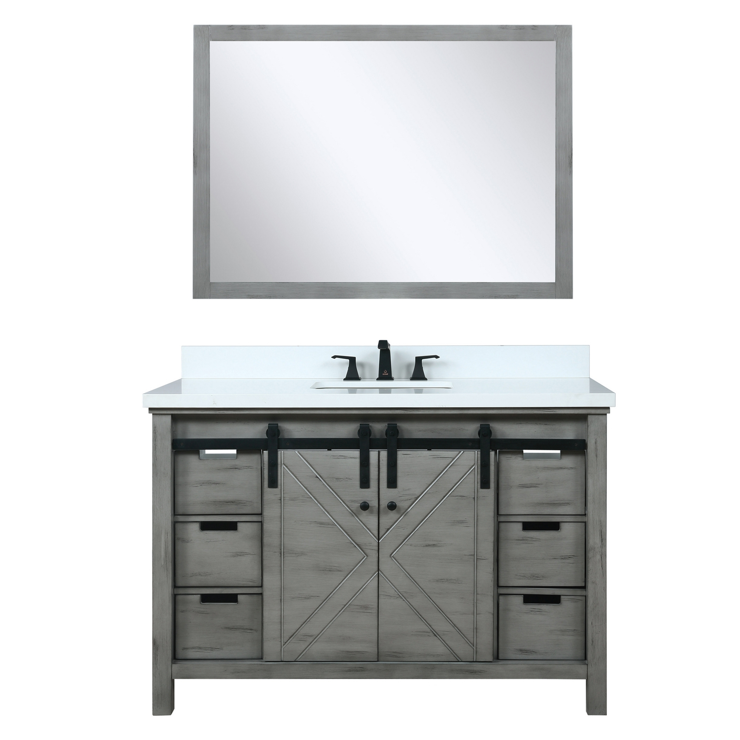 """48"""" Ash Grey Vanity Cabinet Only with Countertop and Mirror Options"""