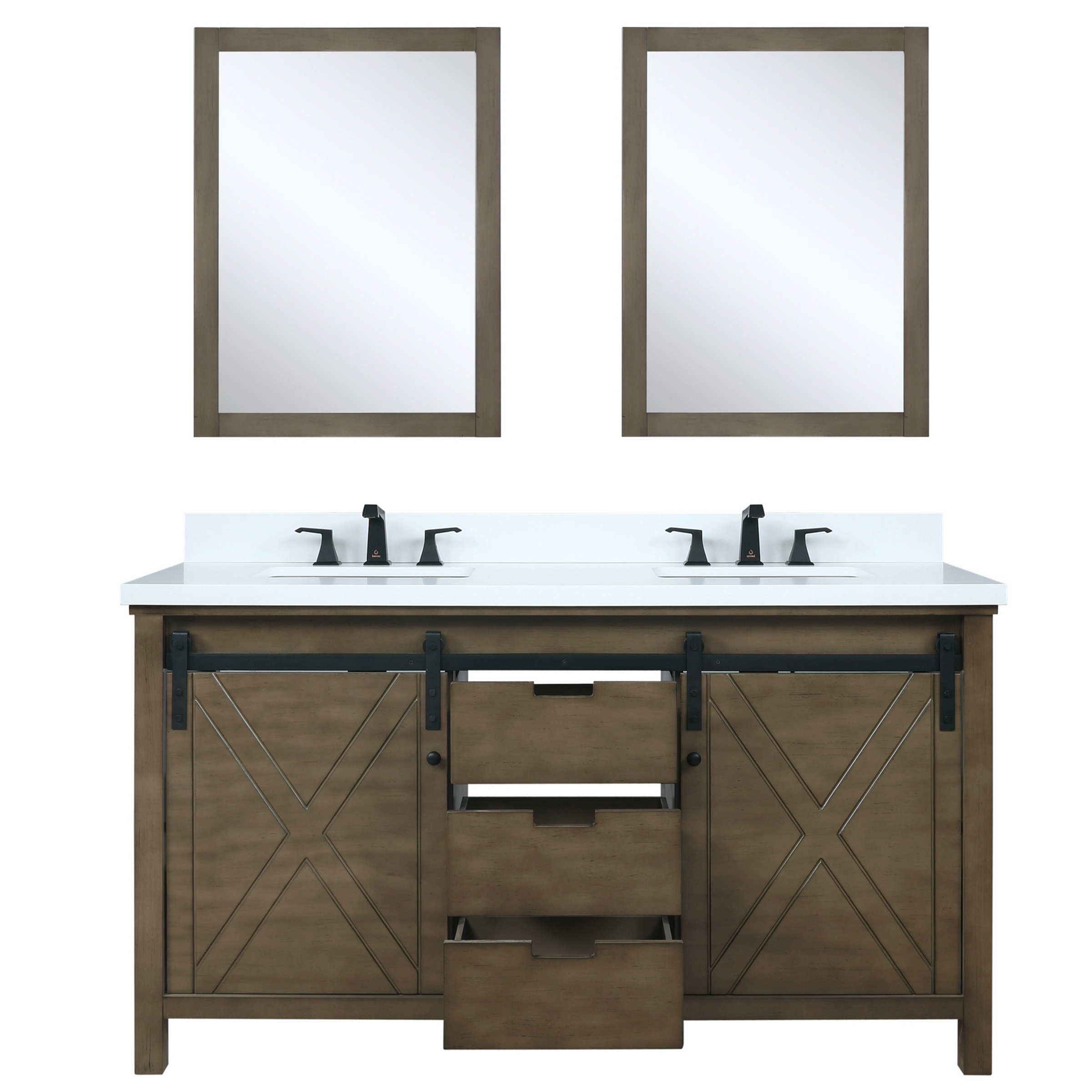 """60"""" Rustic Brown Vanity Cabinet Only with Countertop and Mirror Option"""