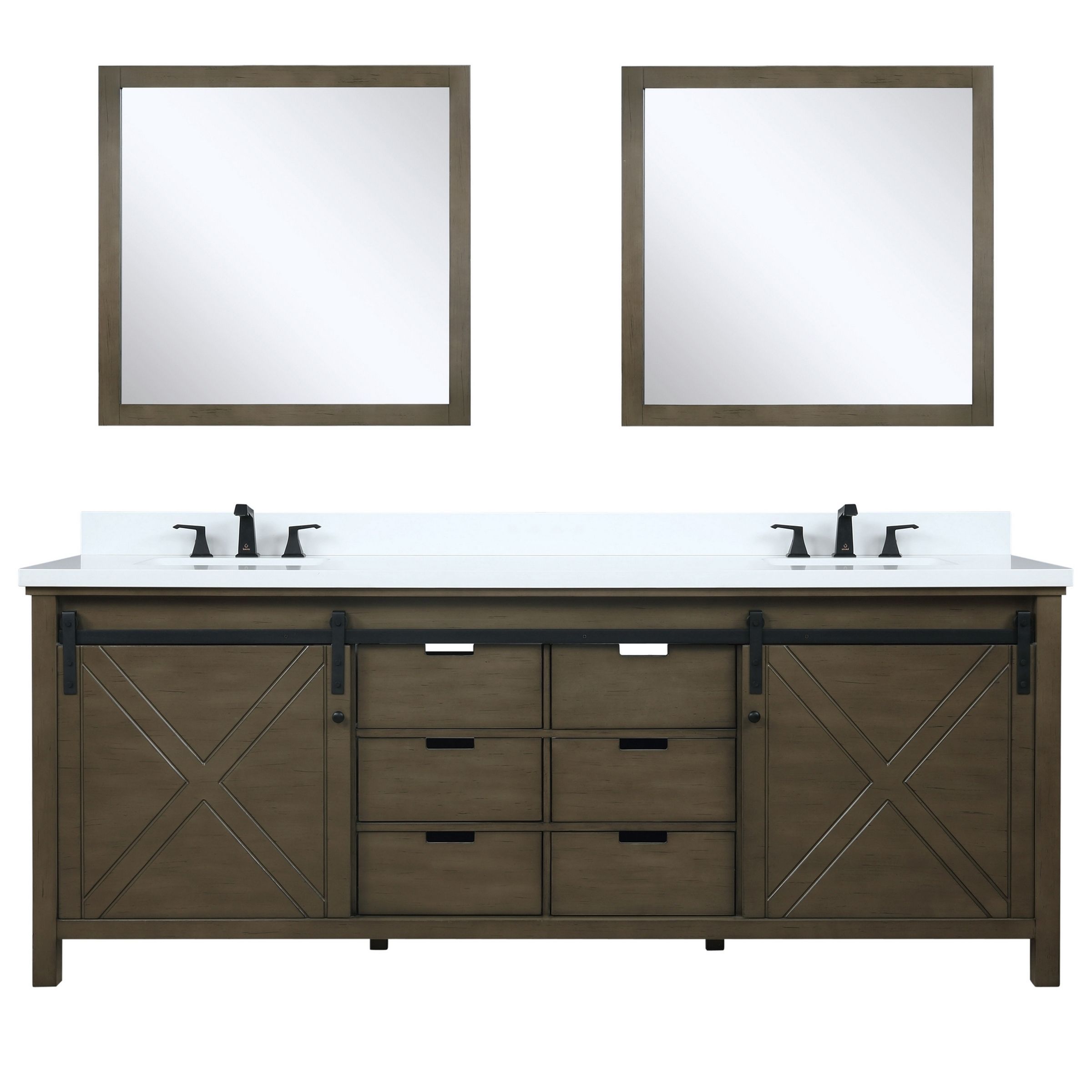 """84"""" Rustic Brown Vanity Cabinet Only with Top and Mirror Options"""