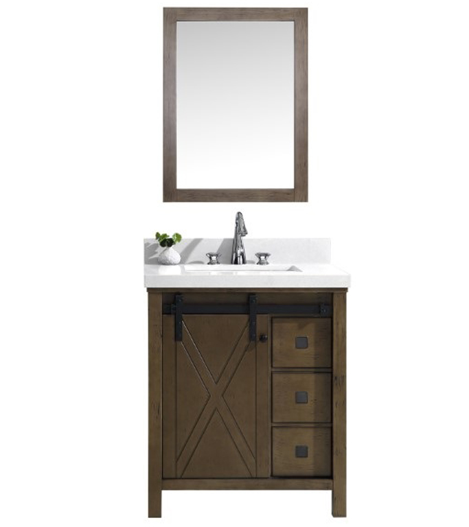 """30"""" Rustic Brown Vanity Cabinet Only woth Top and Mirror Options"""