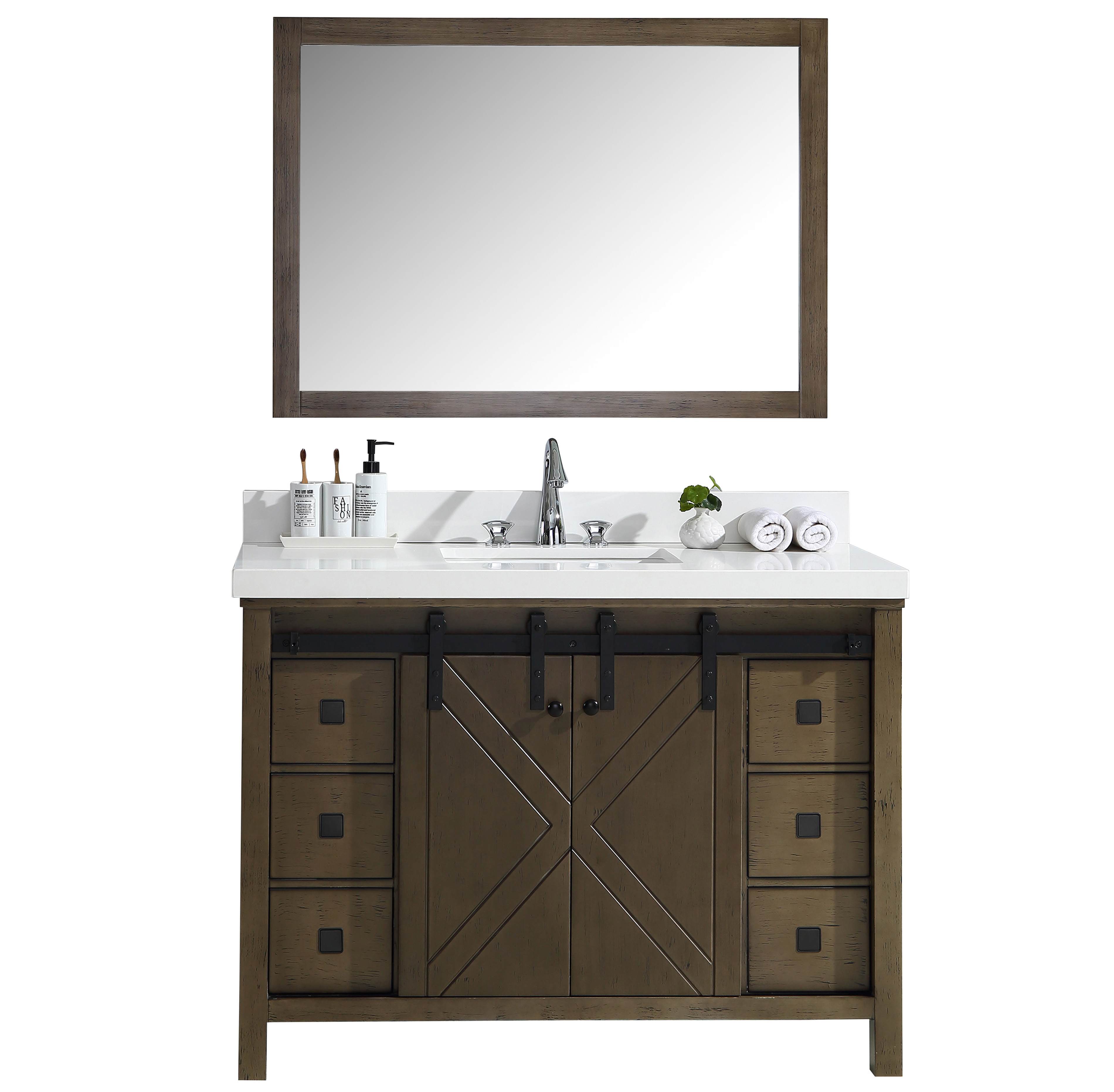 """48"""" Rustic Brown Vanity Cabinet Only with Top and Mirror Options"""
