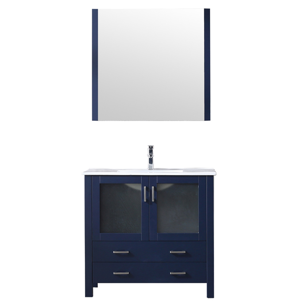 """36"""" Navy Blue Single Vanity, Integrated Top, White Integrated Square Sink and no Mirror"""
