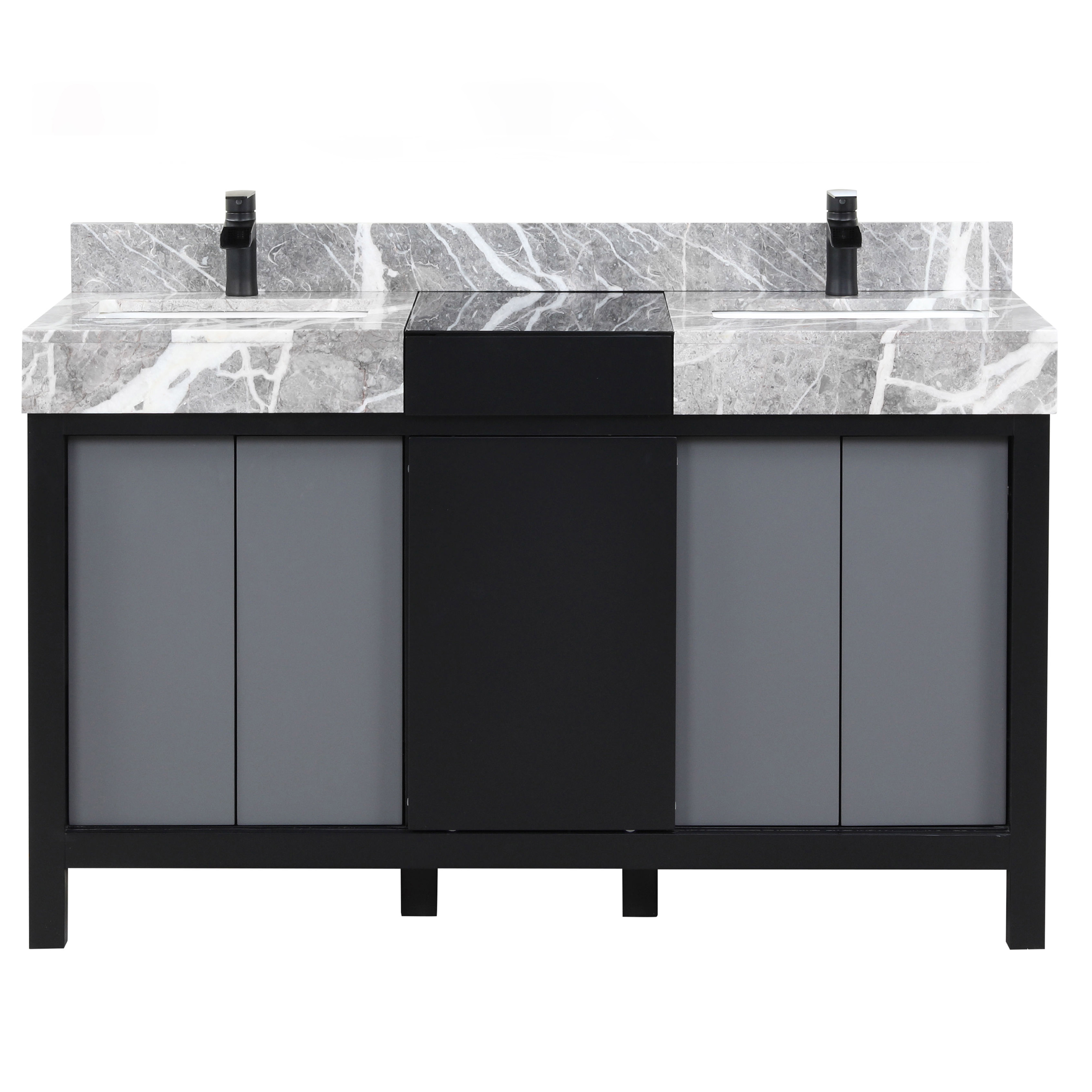 """55"""" Black and Grey Double Vanity, Castle Grey Marble Tops, and White Square Sinks"""