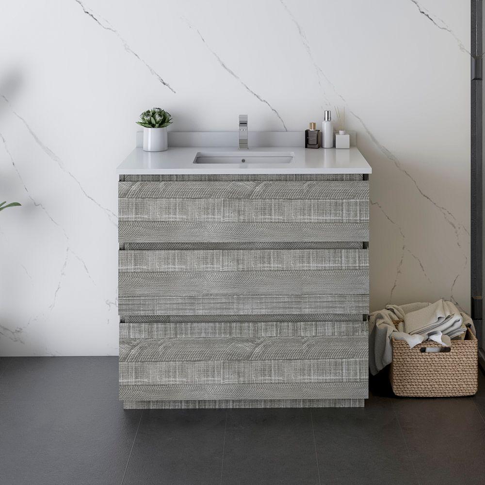 "36"" Floor Standing Modern Bathroom Cabinet w/ Top & Sink in Ash"