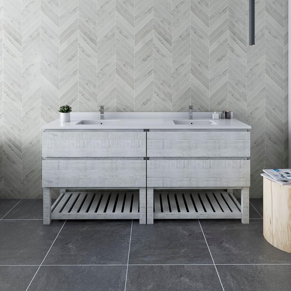 "72"" Floor Standing Open Bottom Double Sink Modern Bathroom Cabinet w/ Top & Sinks in Rustic White"