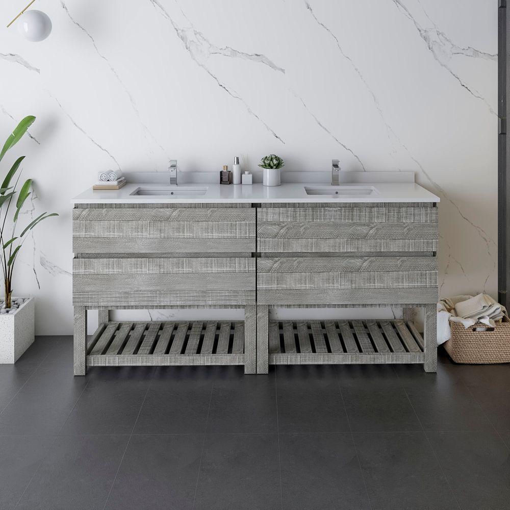 """72"""" Floor Standing Open Bottom Double Sink Modern Bathroom Cabinet w/ Top & Sinks in Ash"""