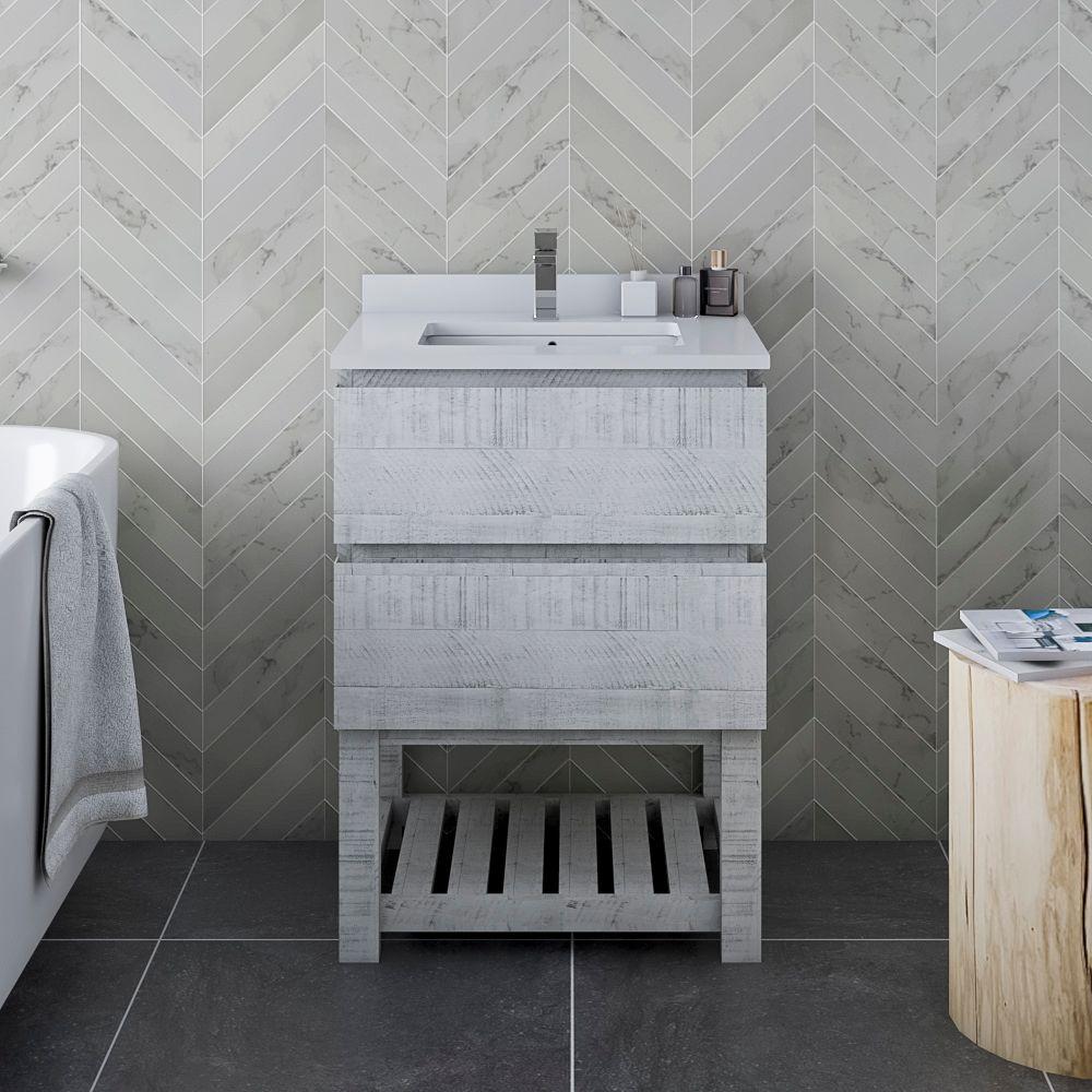 "24"" Floor Standing Open Bottom Modern Bathroom Cabinet w/ Top & Sink in Rustic White"
