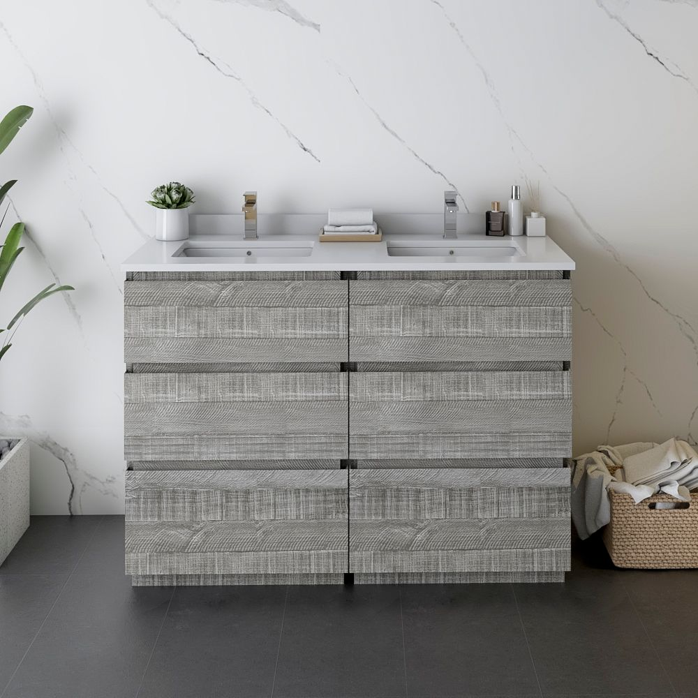 """48"""" Floor Standing Double Sink Modern Bathroom Cabinet w/ Top & Sinks in Ash"""