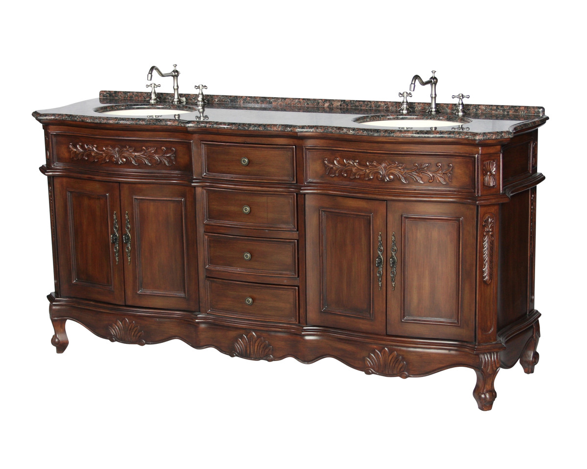 "72"" Adelina Antique Style Double Sink Bathroom Vanity in Walnut Finish with Coral Brown Granite Countertop and Oval Bone Porcelain Sinks"