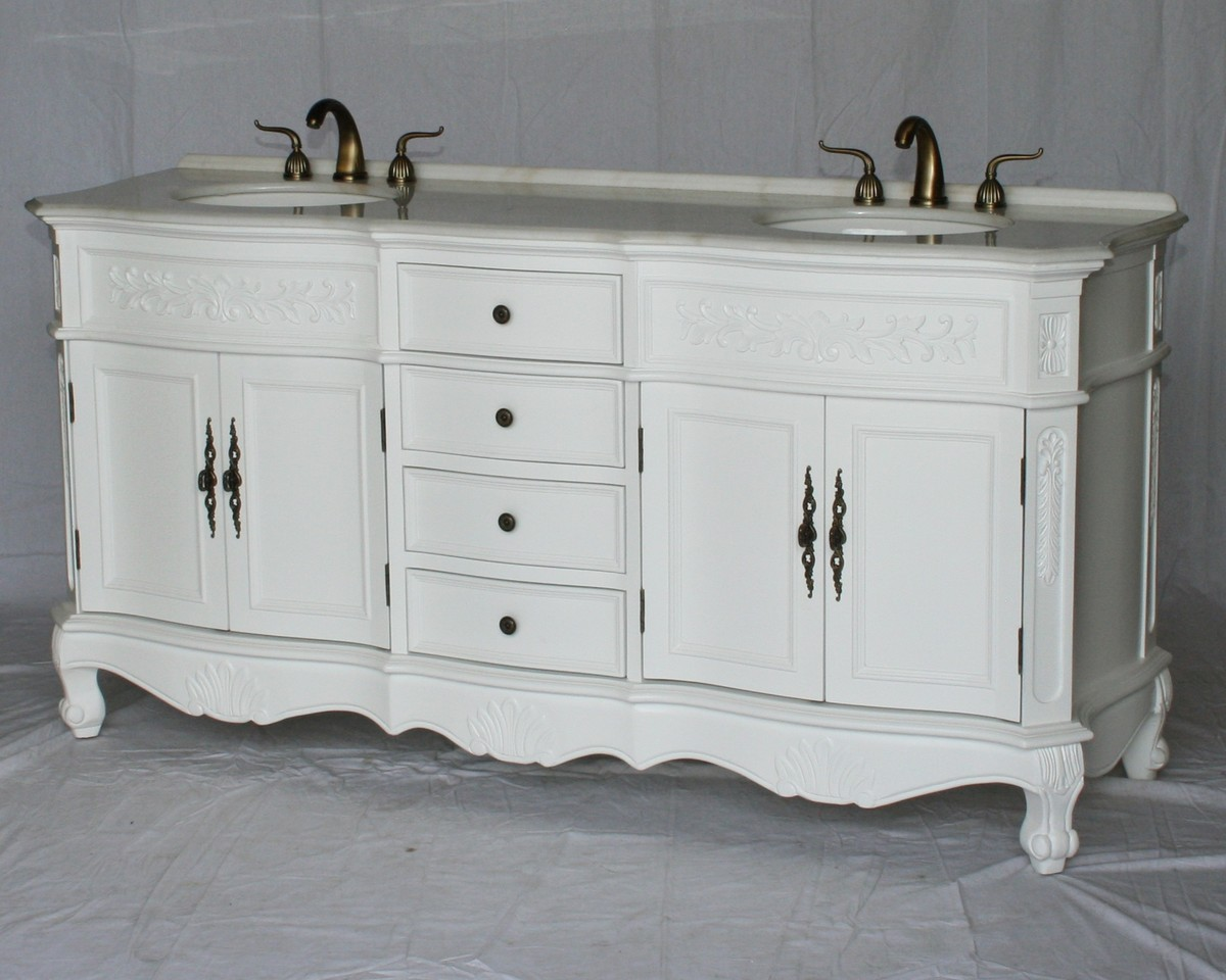"""72"""" Adelina Antique Style Double Sink Bathroom Vanity in Pure White Finish with Imperial White Stone Countertop and Oval White Porcelain Sink"""