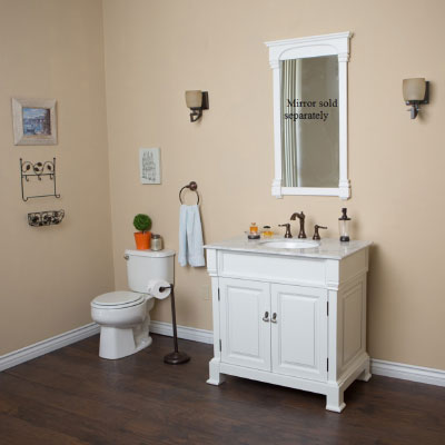 36 inch Traditional White Finish Bathroom Vanity with Carrara Marble top and mirror option