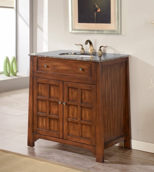 """32"""" Adelina Contemporary Style Single Sink Bathroom Vanity in Walnut Finish with Light Brown Stone Countertop"""