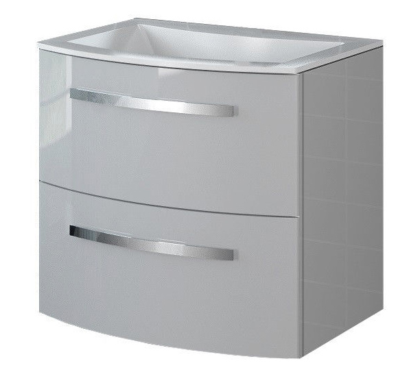 22 inch Modern Wall Mounted Bathroom Vanity Grey Glossy Finish