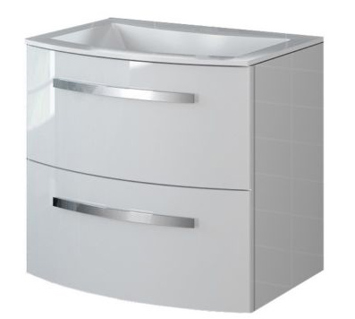 22 inch Modern Wall Mounted Bathroom Vanity White Glossy Finish