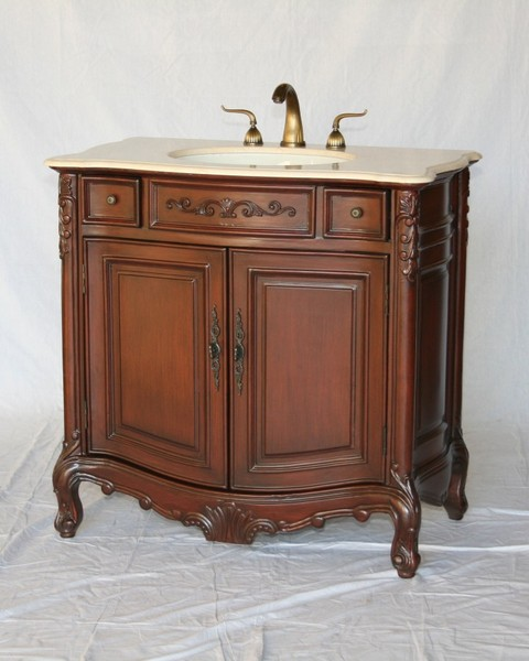 """36"""" Adelina Antique Style Single Sink Bathroom Vanity in Cherry Finish with Beige Stone Countertop"""