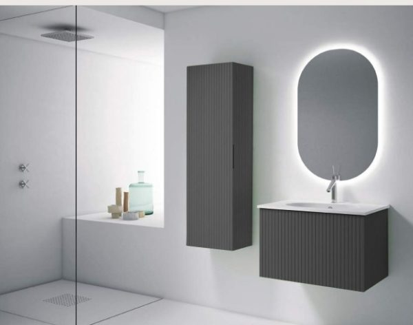 """48"""" Heather Grey Finish Wall Mount Bath Vanity with Linen Cabinet Option Made in Spain"""