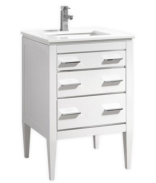 24 Inch Contemporary Bathroom Vanity White Glossy Finish White Quartz Countertop