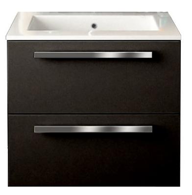 24 inch Modern Wall Mounted Bathroom Vanity Black Glossy Finish