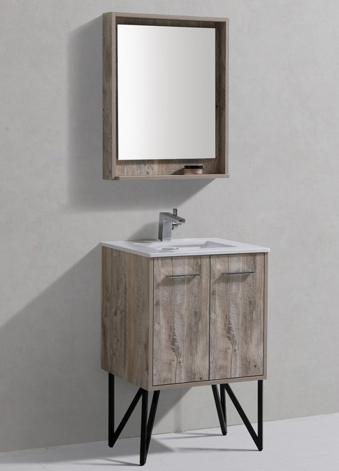 24 inch Nature Wood Modern Bathroom Vanity Quartz Top and Matching Mirror