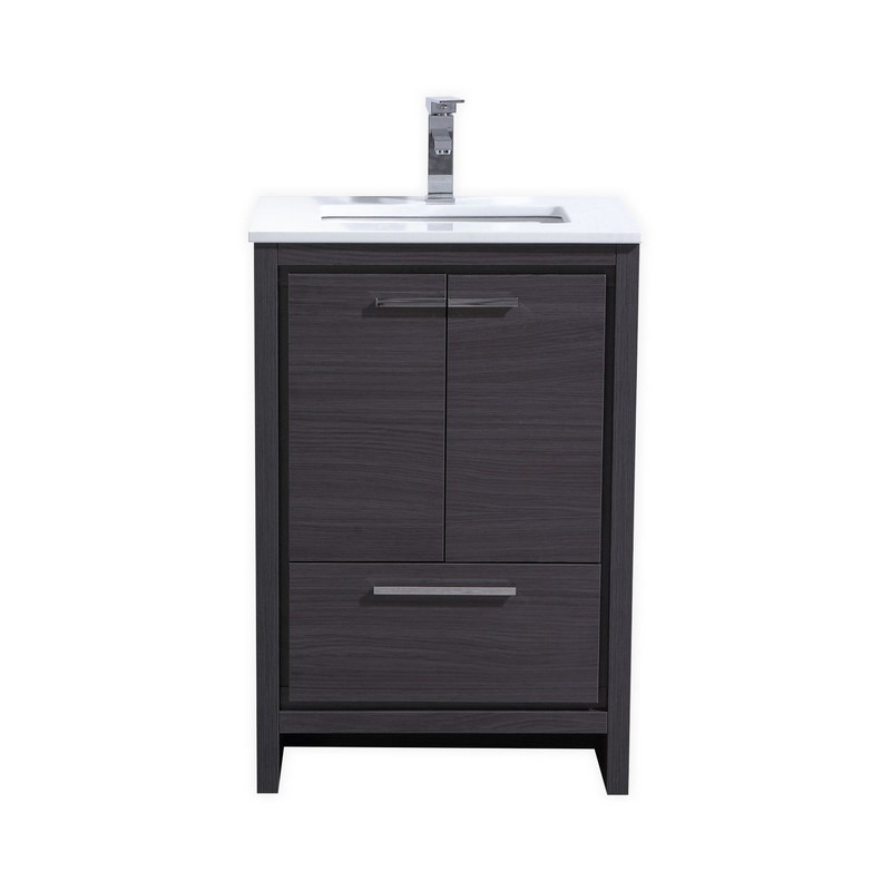 "Modern Lux 24"" Gray Oak Modern Bathroom Vanity with White Quartz Counter-Top"