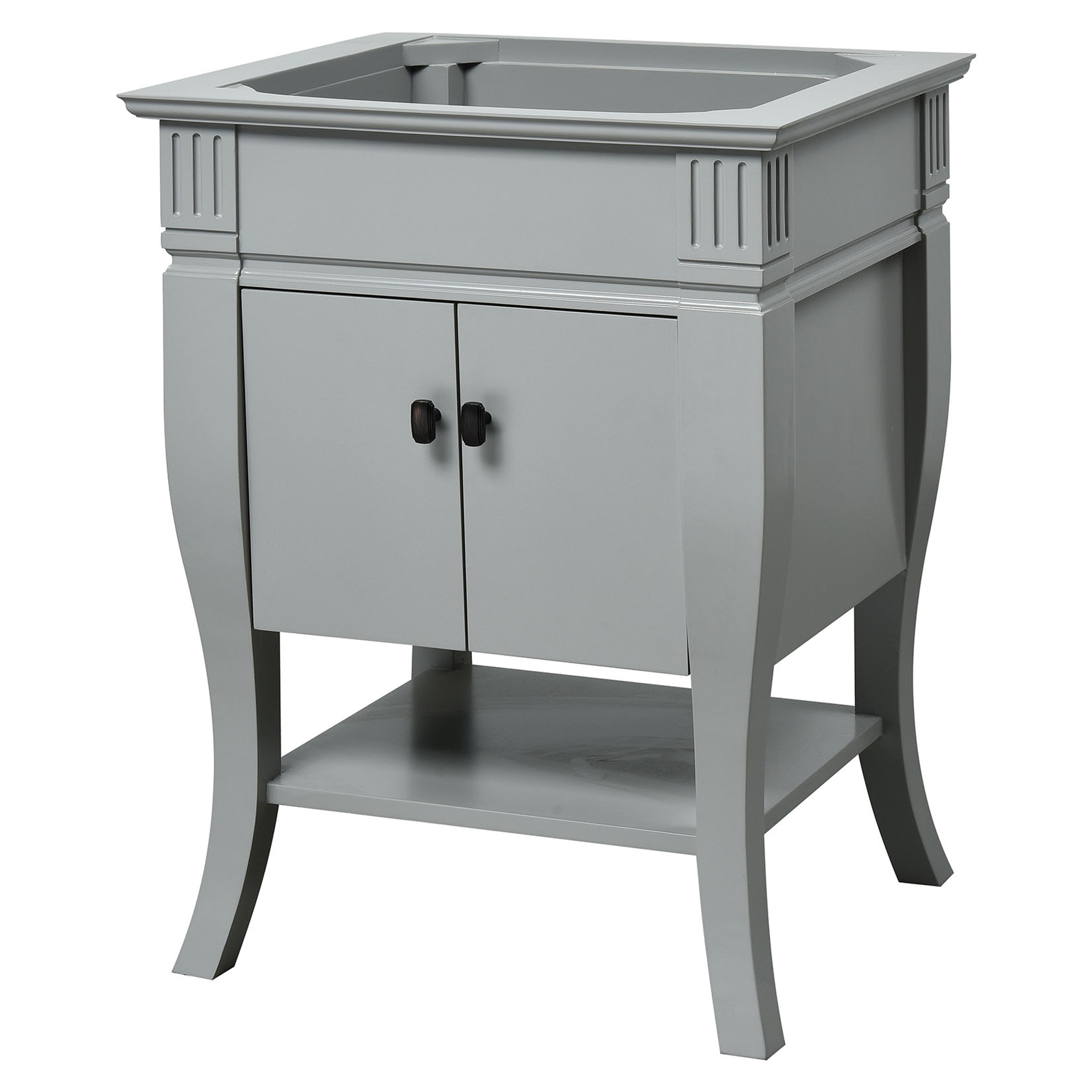 """24"""" Transitional Bathroom Vanity - Grey Finish with Top and Mirror Options"""