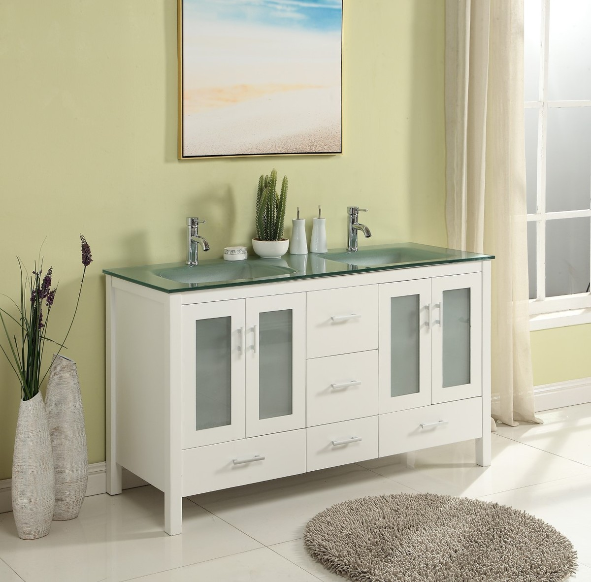 "60"" Adelina Contemporary Style Double Sink Bathroom Vanity in White Wooden Cabinet Finish with Tempered green glass top"