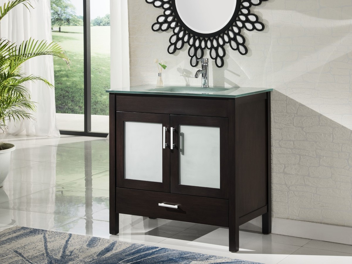 """36"""" Adelina Contemporary Style Espresso Single Sink Bathroom Vanity with Tempered Glass Countertop"""