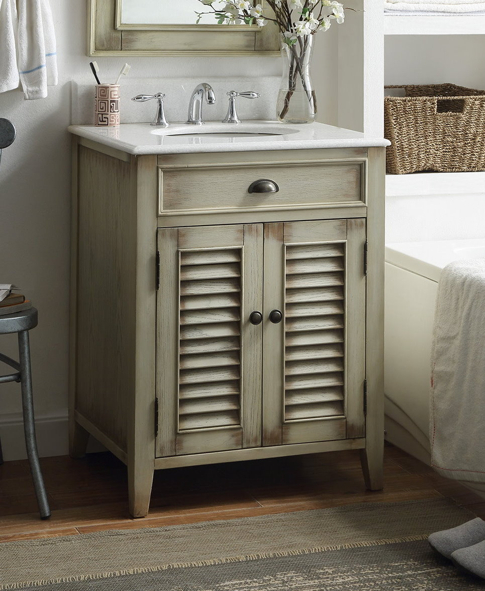 26 inch Adelina Antique with White Sink Bathroom Vanity
