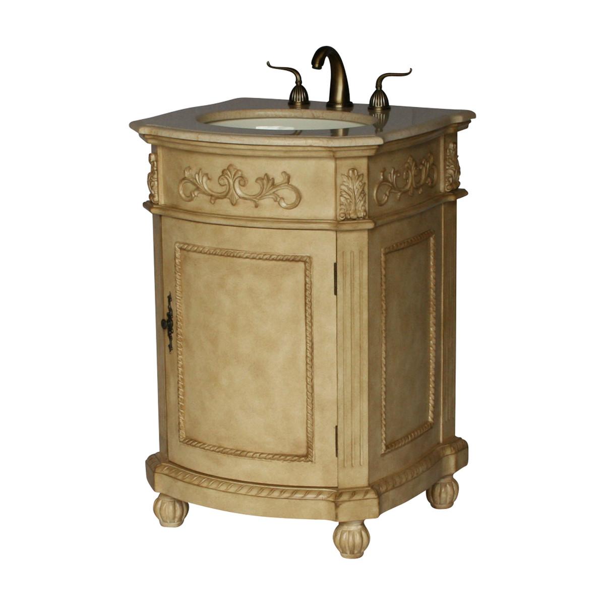 "24"" Adelina Antique Single Sink Bathroom Vanity in Beige Finish"