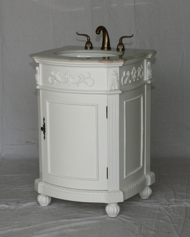 24 Quot Adelina Antique Single Sink Bathroom Vanity In White