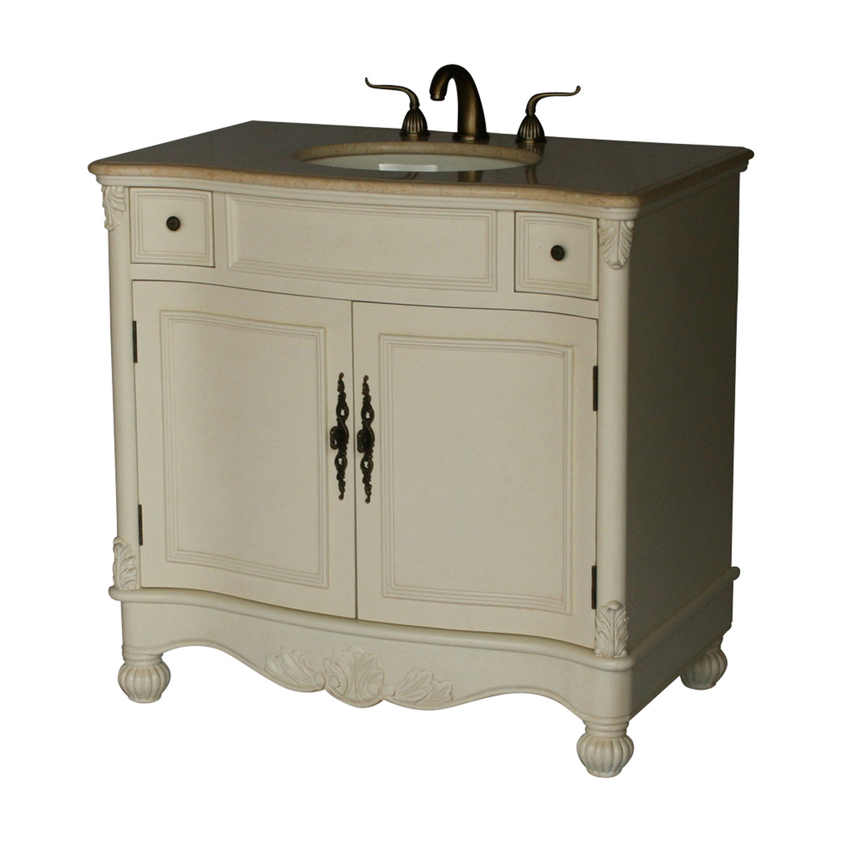 """36"""" Adelina Antique Style Single Sink Bathroom Vanity with Beige Stone Countertop and Antique White Finish"""