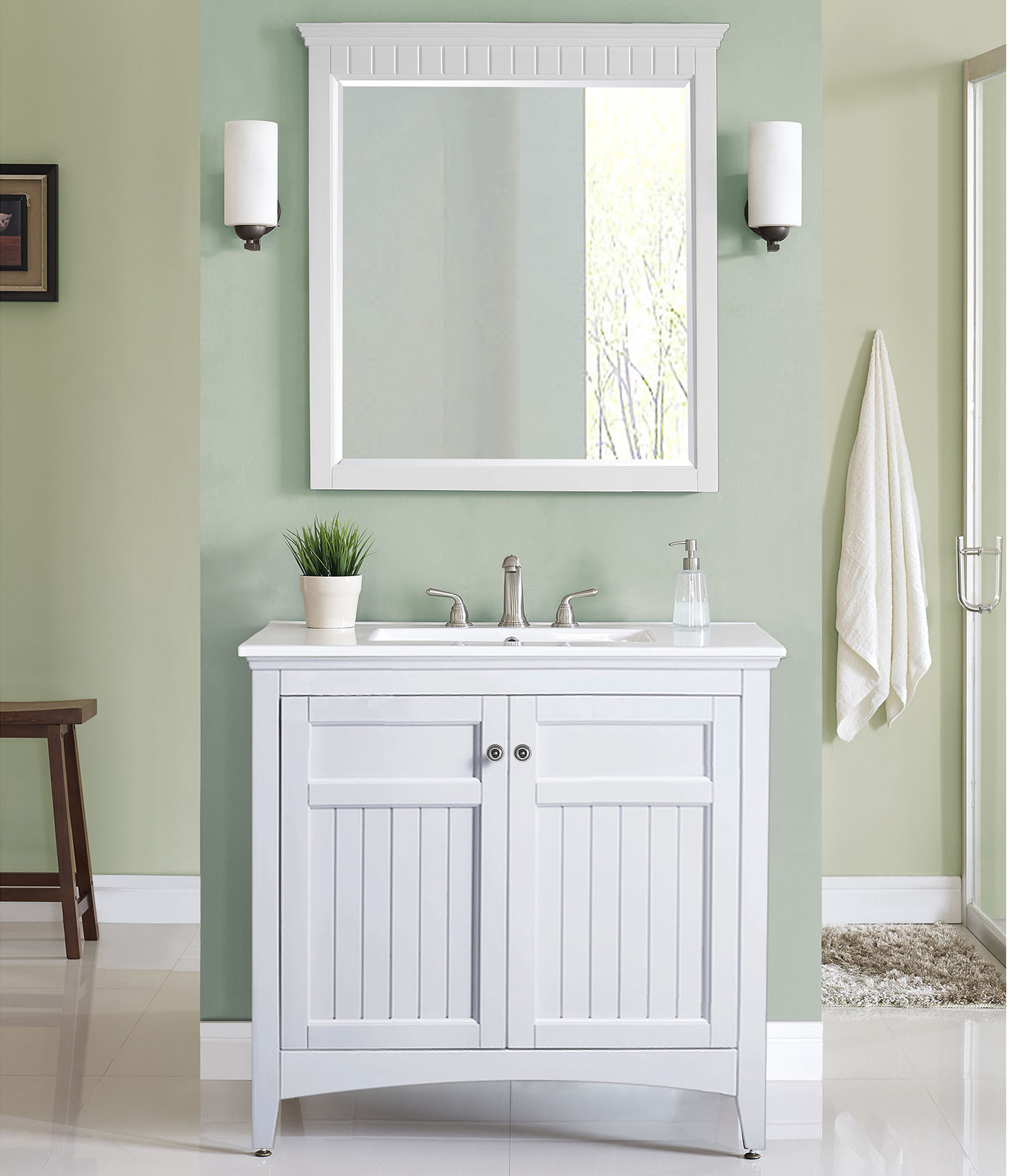 """36"""" Transitional Bathroom Vanity - White Finish with Counter Top and Mirror Options"""