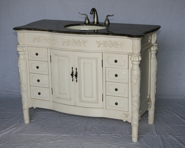 "48"" Adelina Antique Style Single Sink Bathroom Vanity in Antique White Finish with Light Brown Stone Countertop"