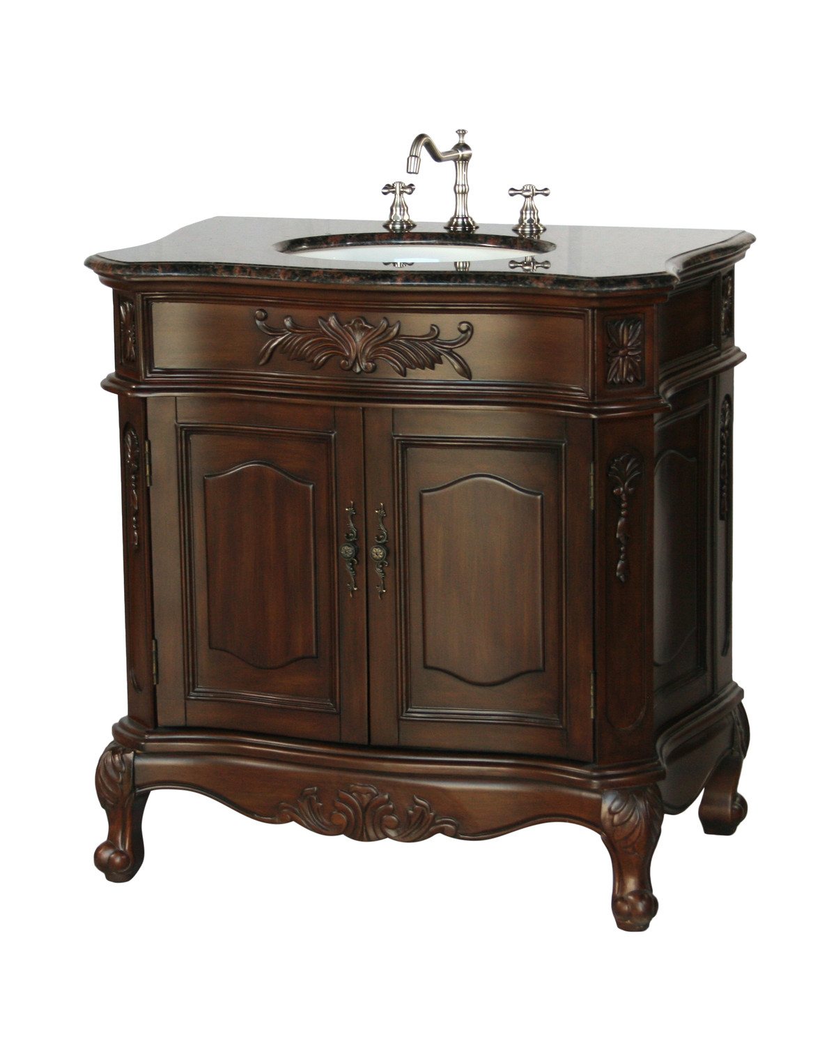 """34"""" Adelina Antique Style Single Sink Bathroom Vanity with Coral Brown Granite Countertop and Walnut Finish"""