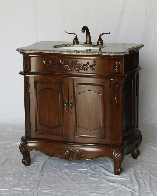 "34"" Adelina Antique Style Walnut Single Sink Bathroom Vanity with Gray Granite Countertop"