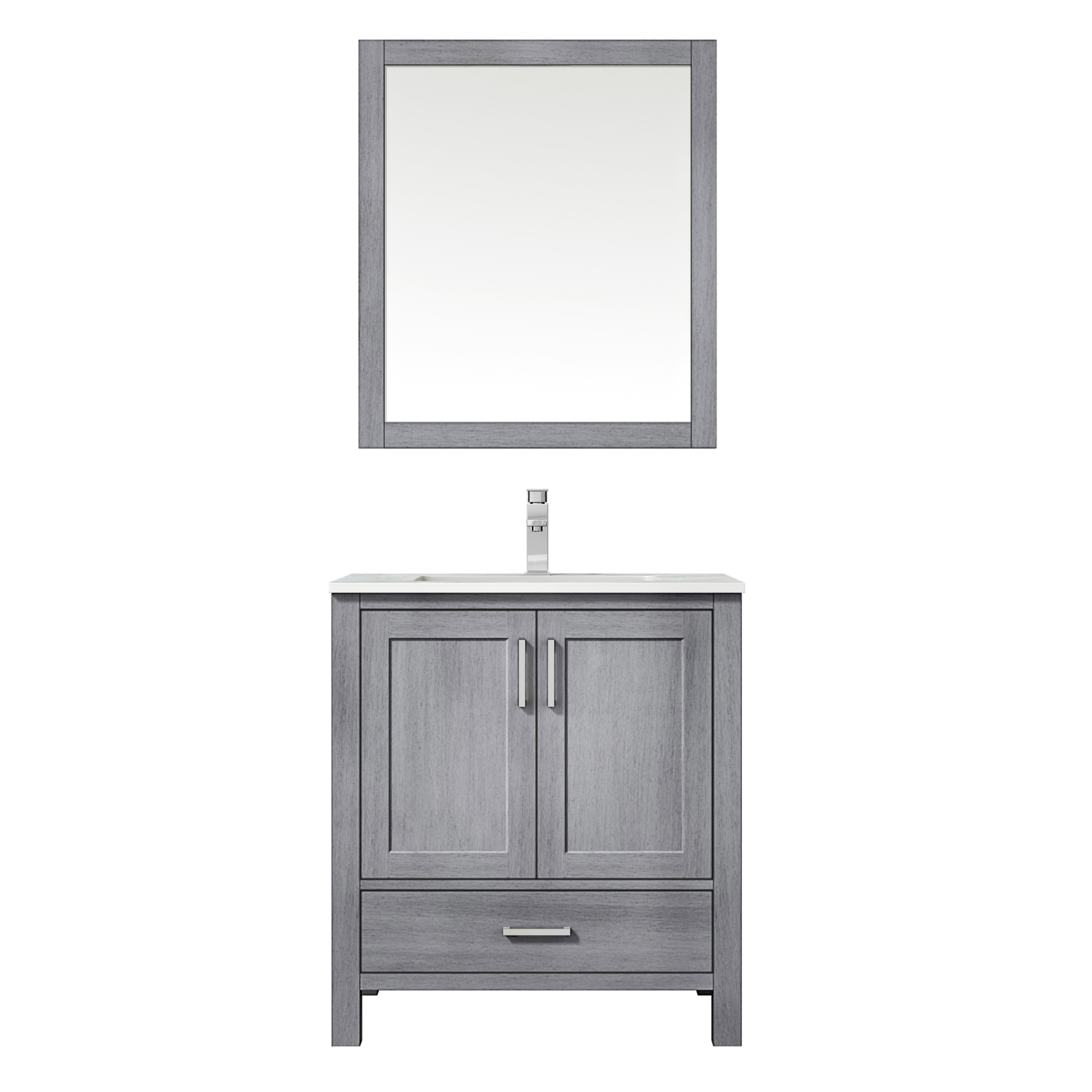 """30"""" Distressed Grey Vanity Cabinet Only with Countertop and Mirror Options"""