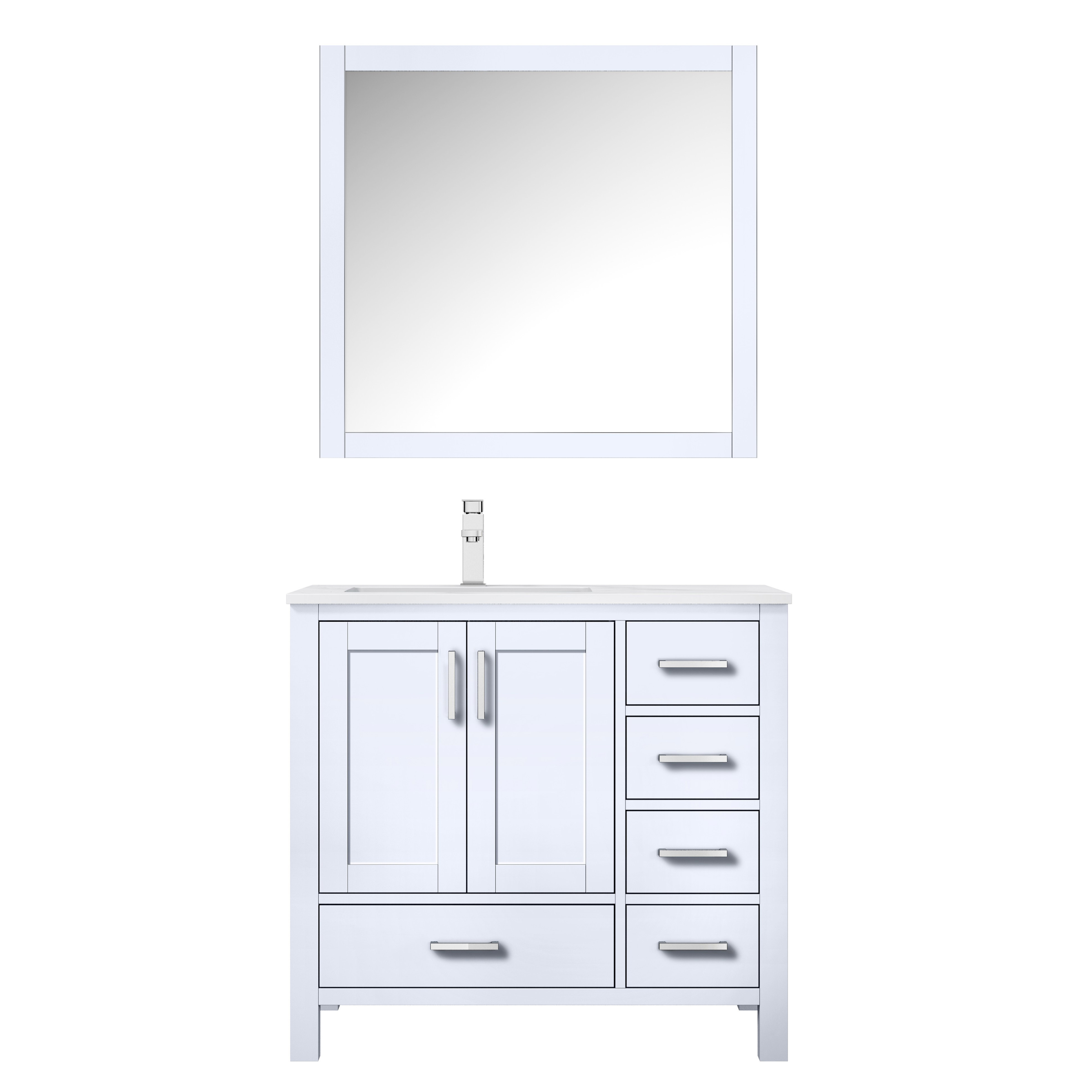"""36"""" White Vanity Cabinet Only - Left Version with Countertop and Mirror Options"""