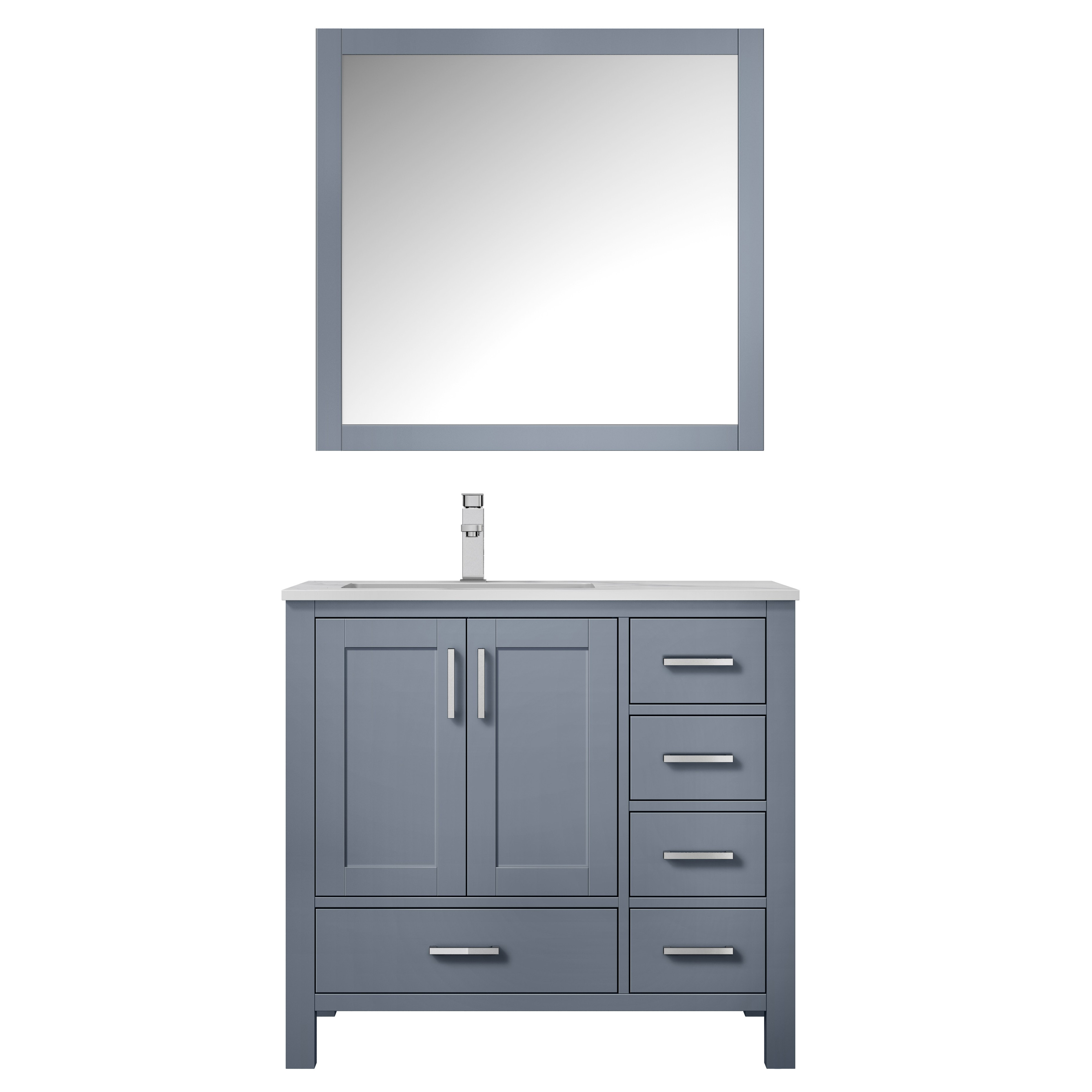 """36"""" Dark Grey Vanity Cabinet Only - Left Version with Countertop and Mirror Options"""