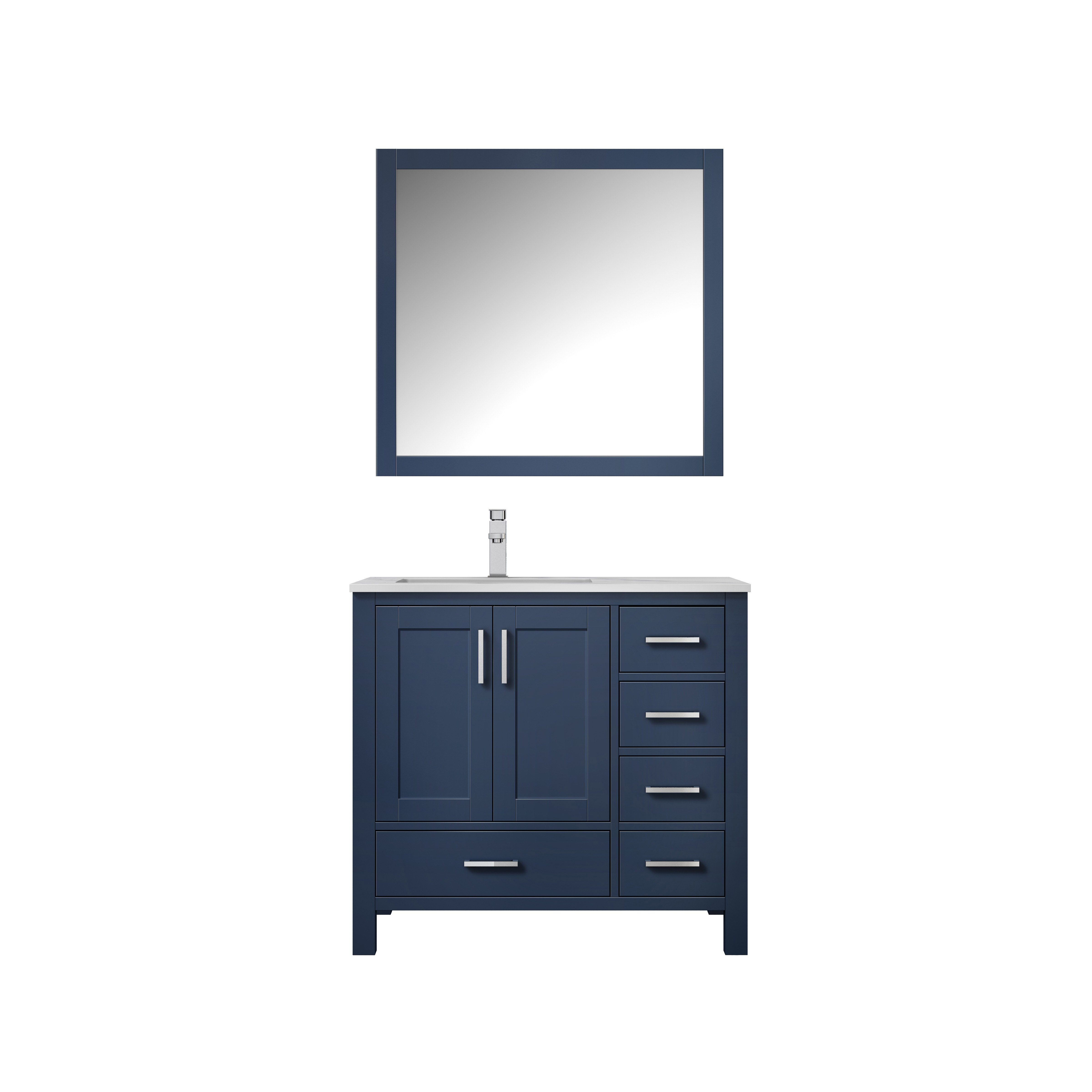 """36"""" Navy Blue Vanity Cabinet Only - Left Version with Countertop and Mirror Options"""