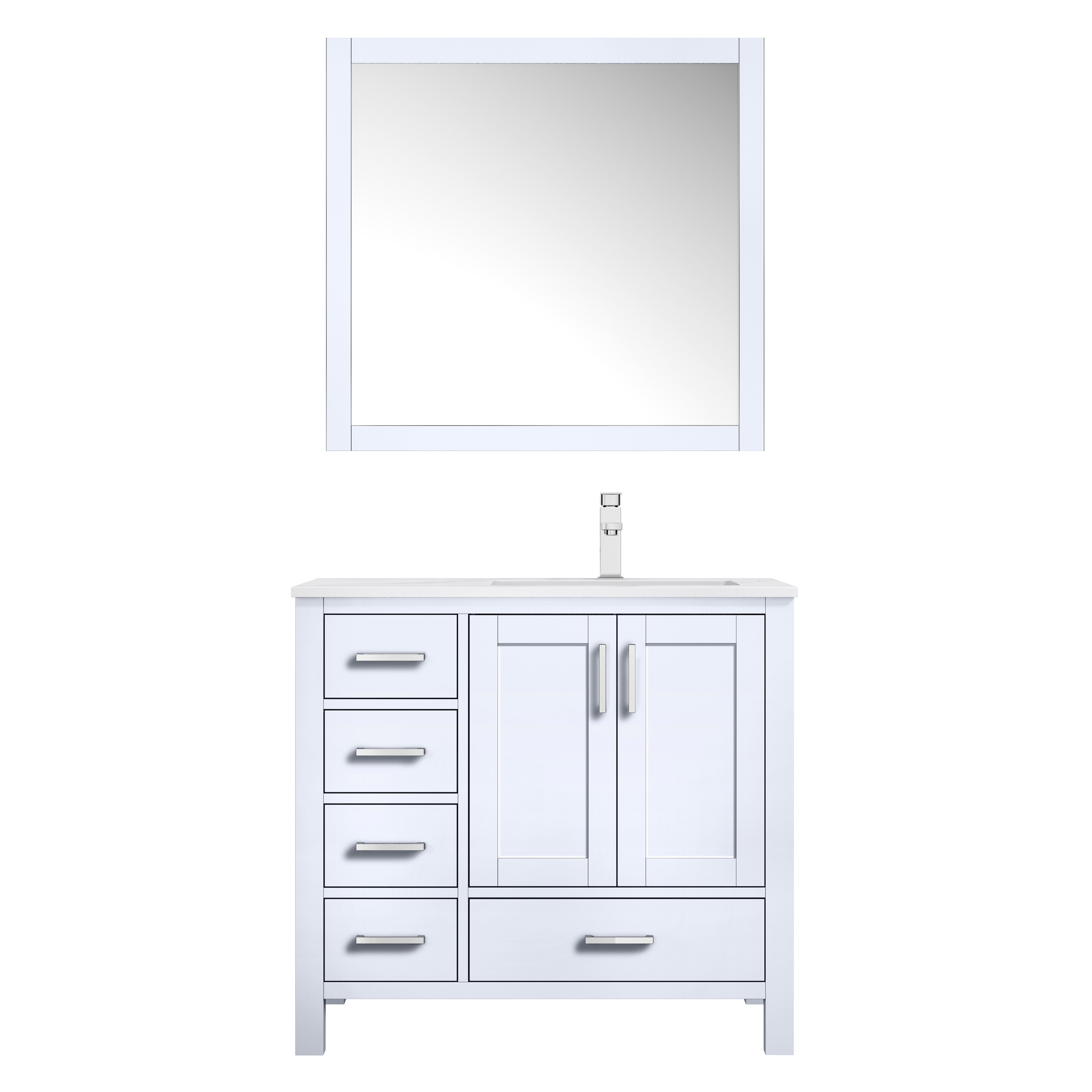 "36"" White Vanity Cabinet Only - Right Version with Countertop and Mirror Options"