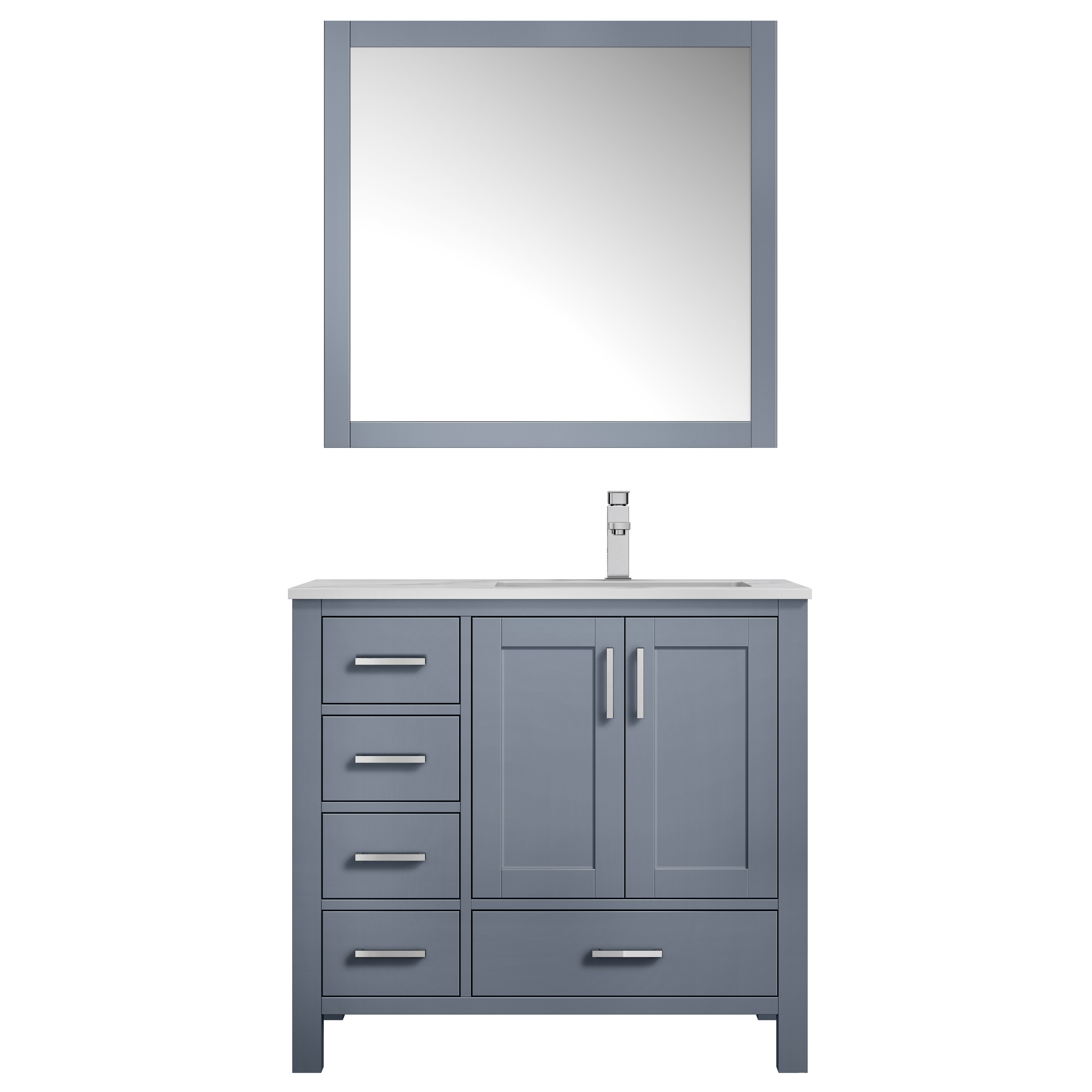 """36"""" Dark Grey Vanity Cabinet Only - Right Version with Countertop and Mirror Options"""